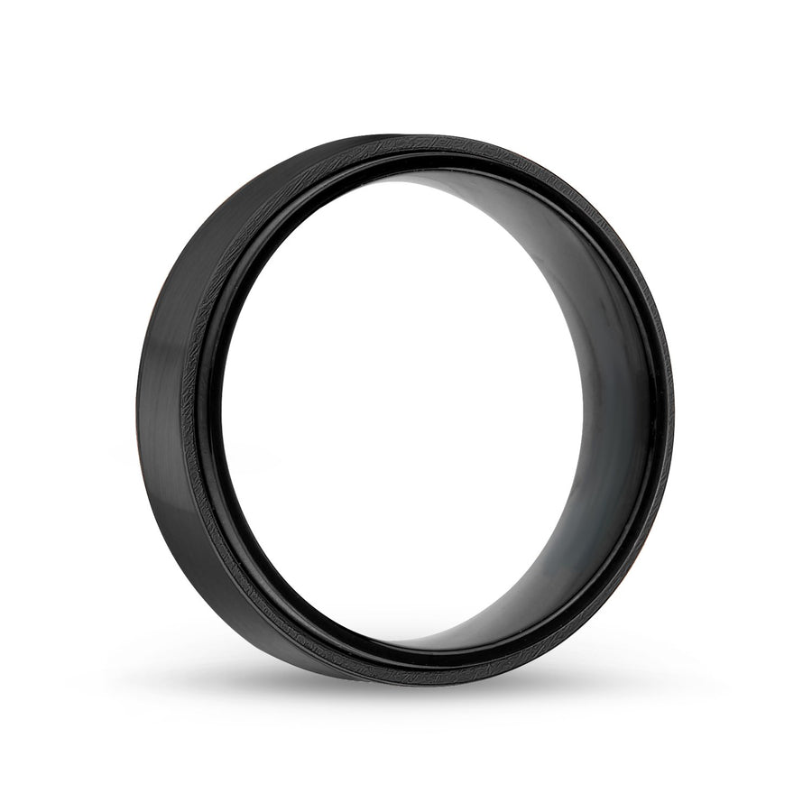 Men Ring - 7mm Black Steel Wedding Band Ring - Engravable
