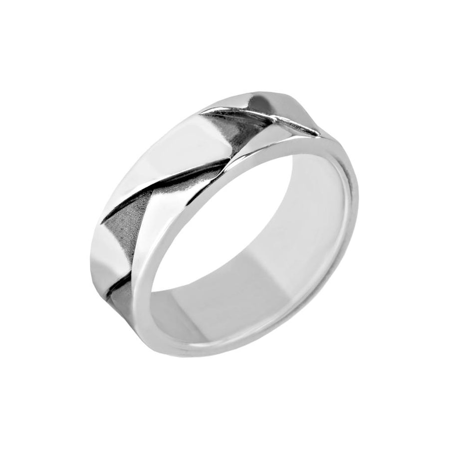 Men Ring - 7mm Carved Stainless Steel Ring - Engravable