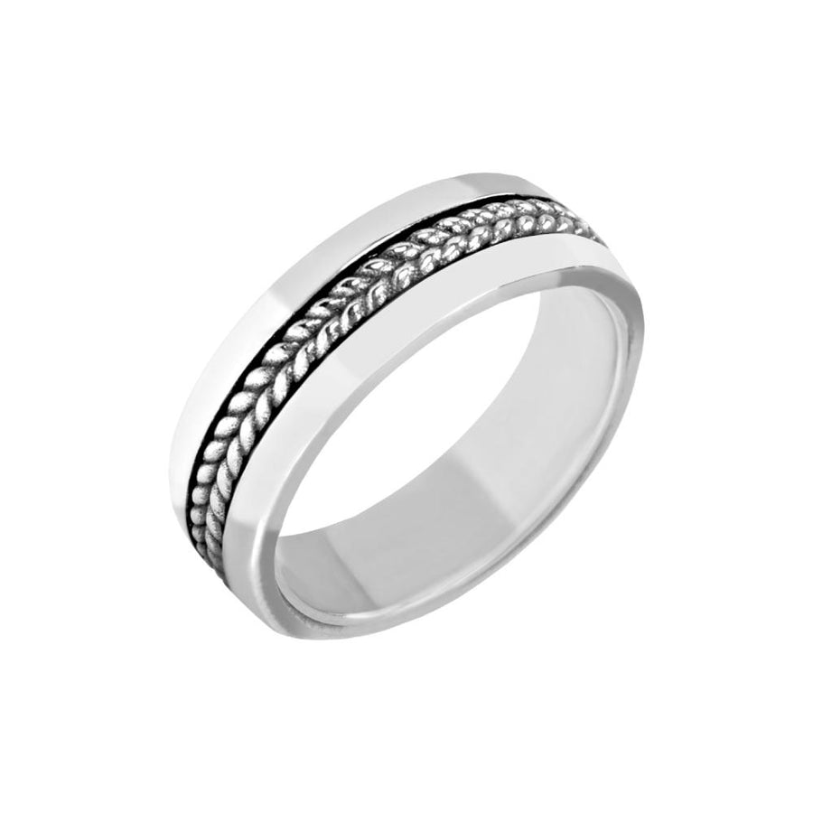 Men Ring - 7mm Detailed Stainless Steel Shiny Ring - Engravable