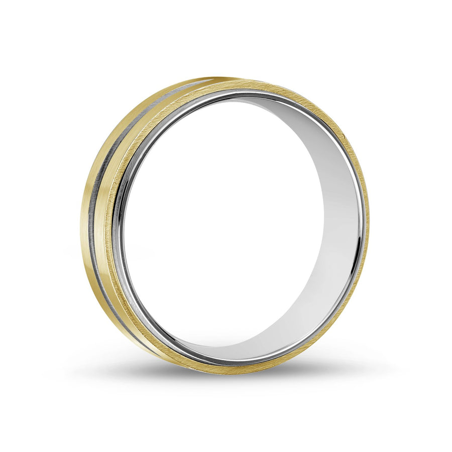 Men Ring - 7mm Gold Stainless Steel Wedding Band Ring - Engravable