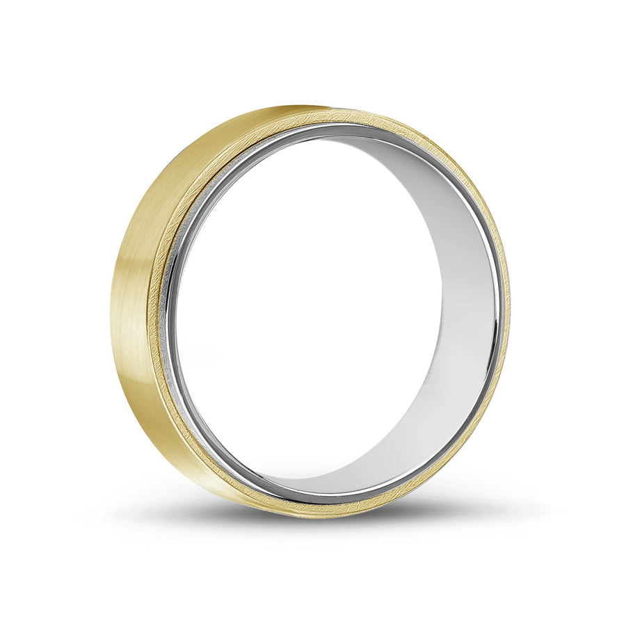 Men Ring - 7mm Gold Steel Wedding Band Ring - Engravable