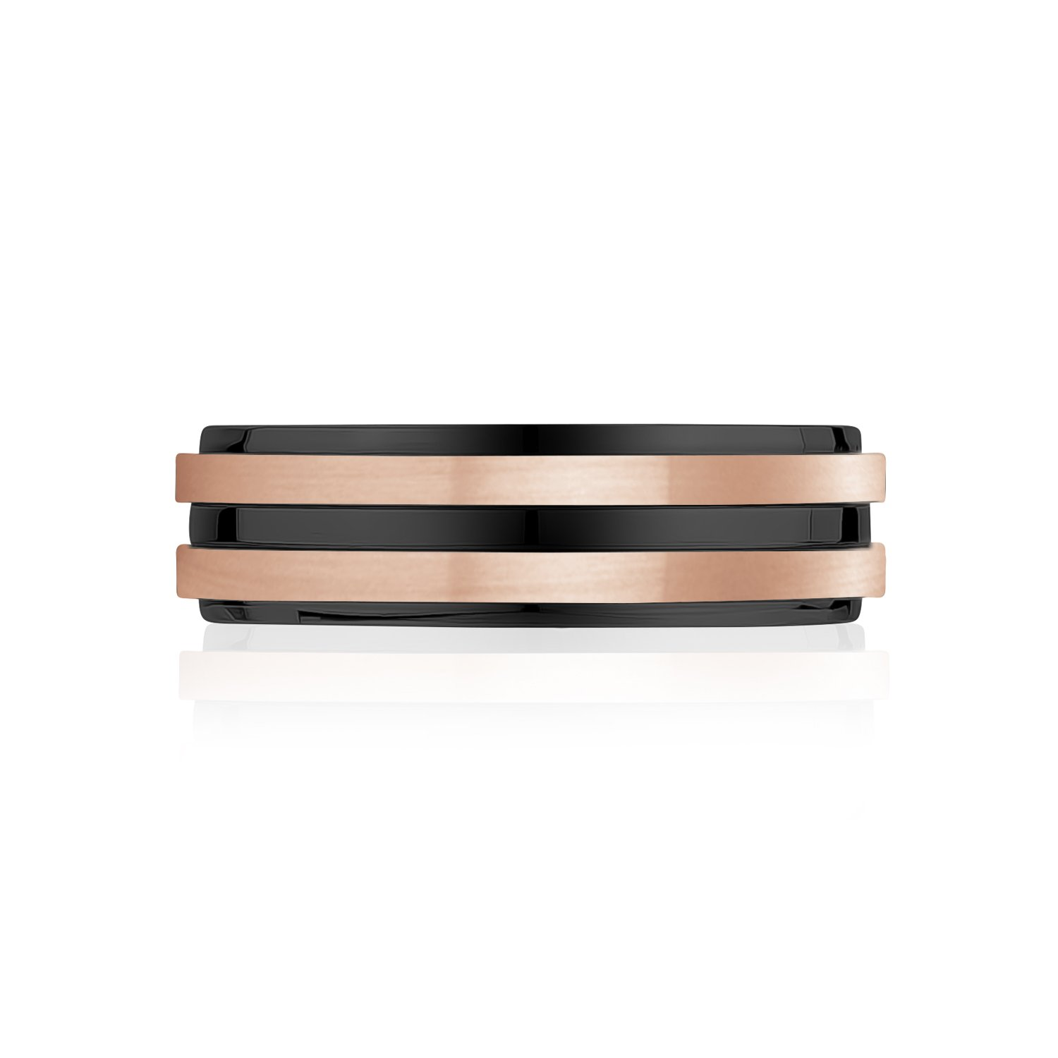 Men Ring - 7mm Rose Gold & Black Steel Wedding Band Ring - Engravable