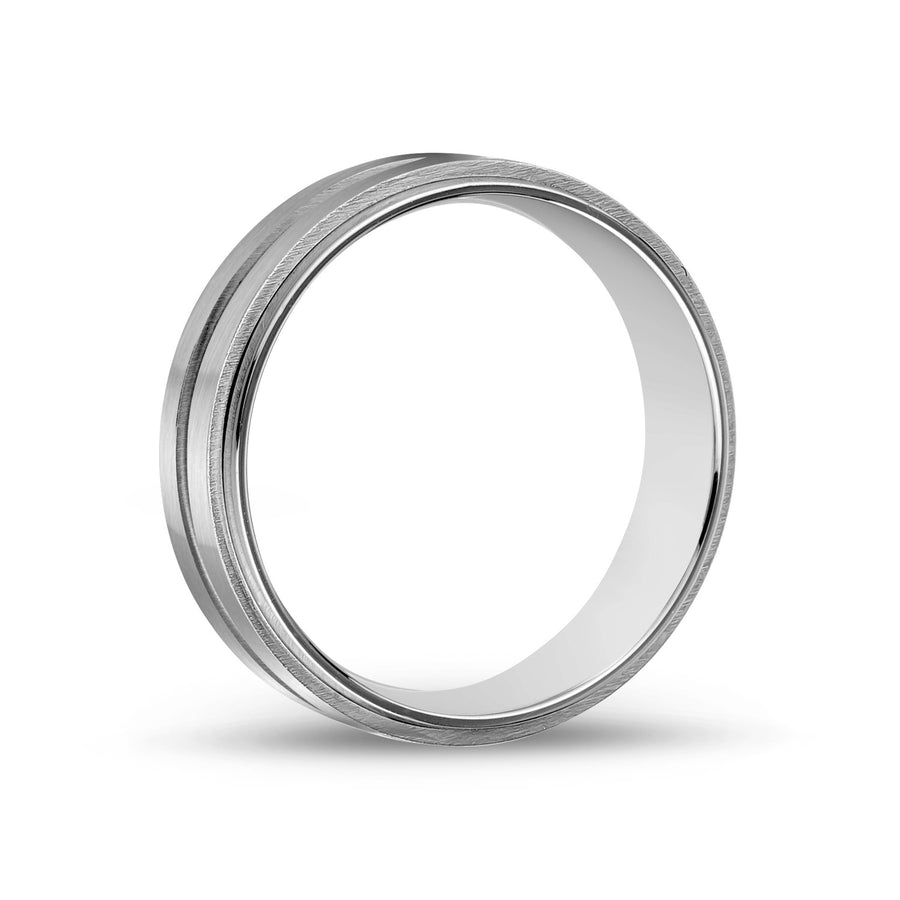 Men Ring - 7mm Stainless Steel Wedding Band Ring - Engravable