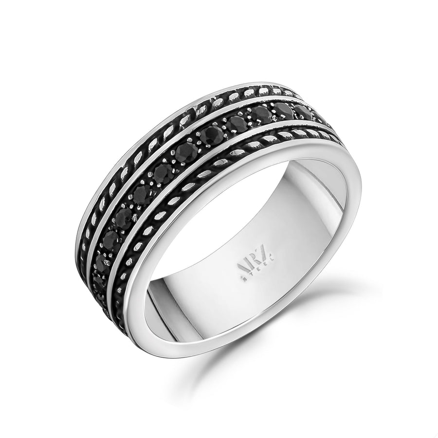 Men Ring - 8mm Black Stone Steel Ring - Engravable