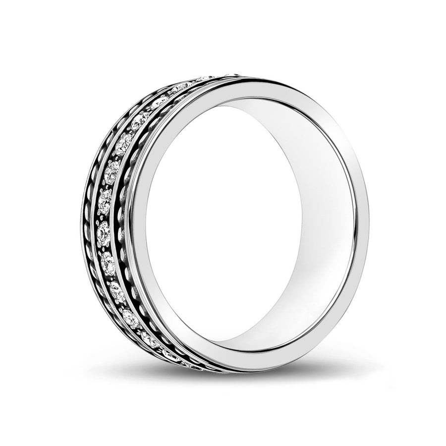 Men Ring - 8mm C.Z Stone Steel Band Ring - Engravable