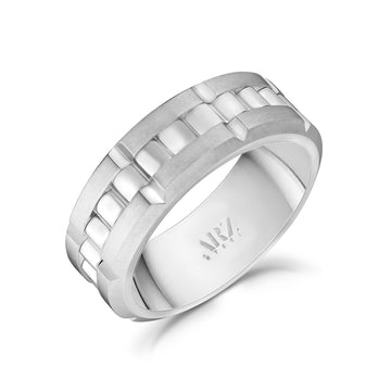 Men Ring - 8mm Link Style Engravable Steel Spinner Band Ring
