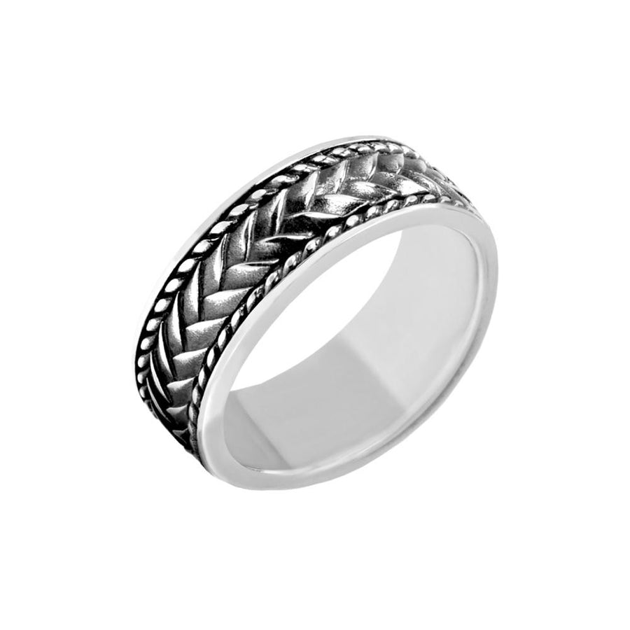 Men Ring - 8mm Tire Mark Steel Ring - Engravable