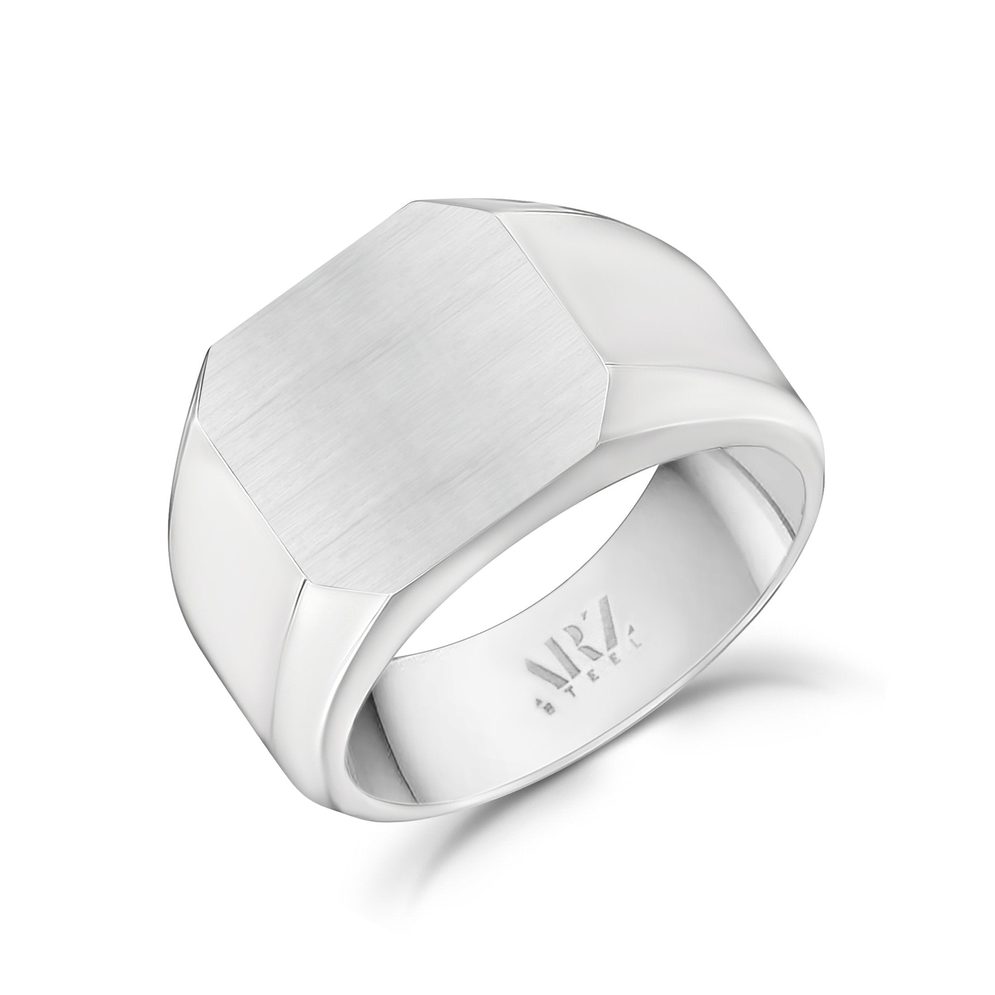 Men Ring - Matte And Shiny Steel Engravable Square Signet Ring