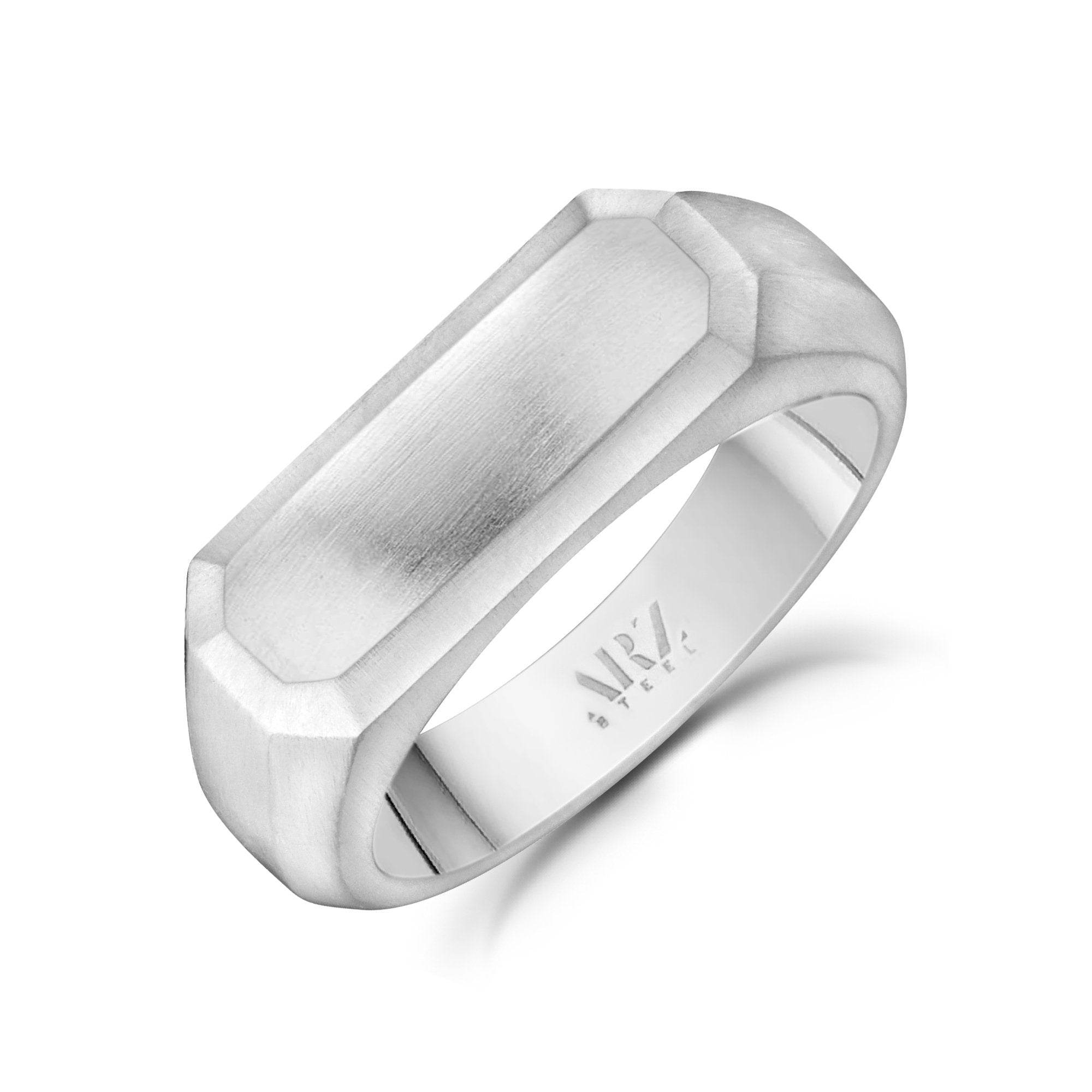 Men Ring - Matte Steel Engravable Rectangle Signet Ring