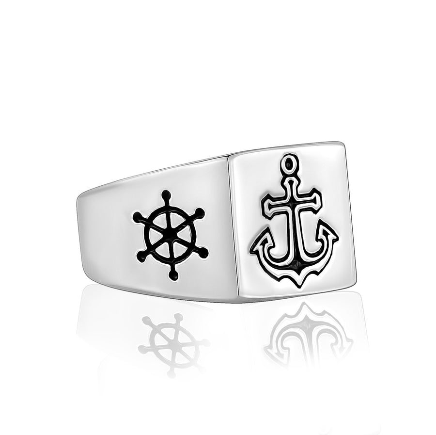 Men Ring - Ship Wheel Anchor Steel Signet Ring