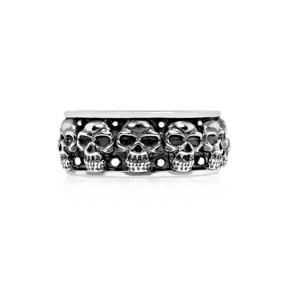 Men Ring - Skull Head Bridge Steel Ring - Engravable