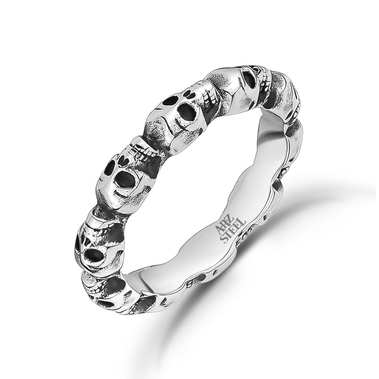 Men Ring - Stainless Steel Skull Head Bridge Band Ring