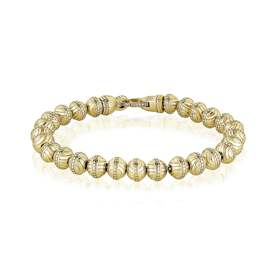 6mm Stainless Steel Designed Bead Bracelet