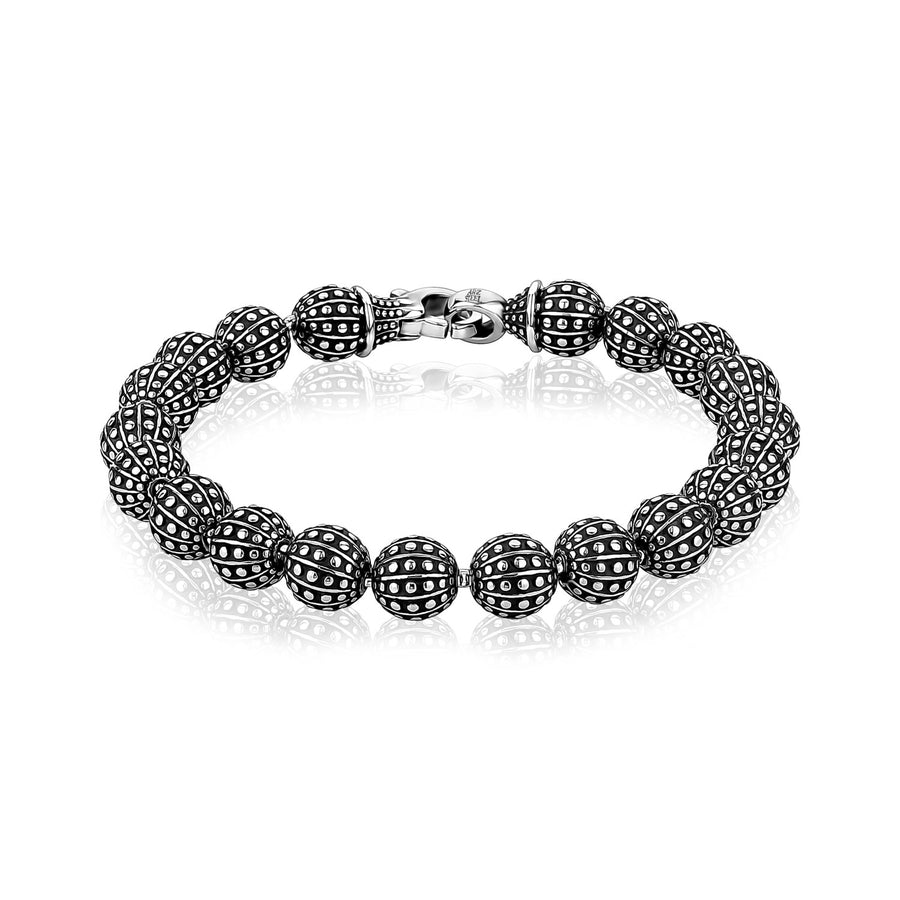 Mens Steel Bead Bracelets - 8mm Stainless Steel Designed Bead Bracelet