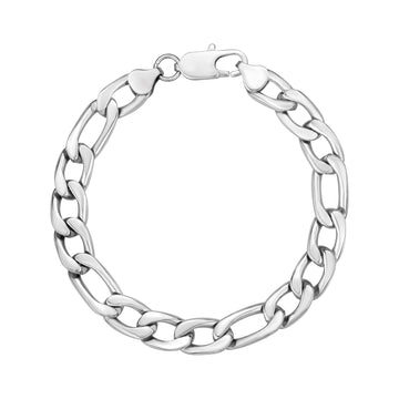 Mens Steel Bracelets - 10mm Stainless Steel Figaro Link Bracelet