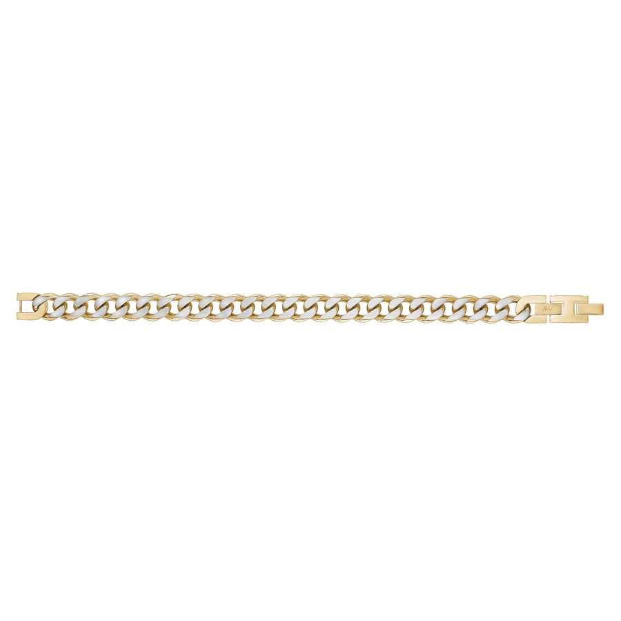 Mens Steel Bracelets - 11mm Gold Two Tone Steel Cuban Link Bracelet