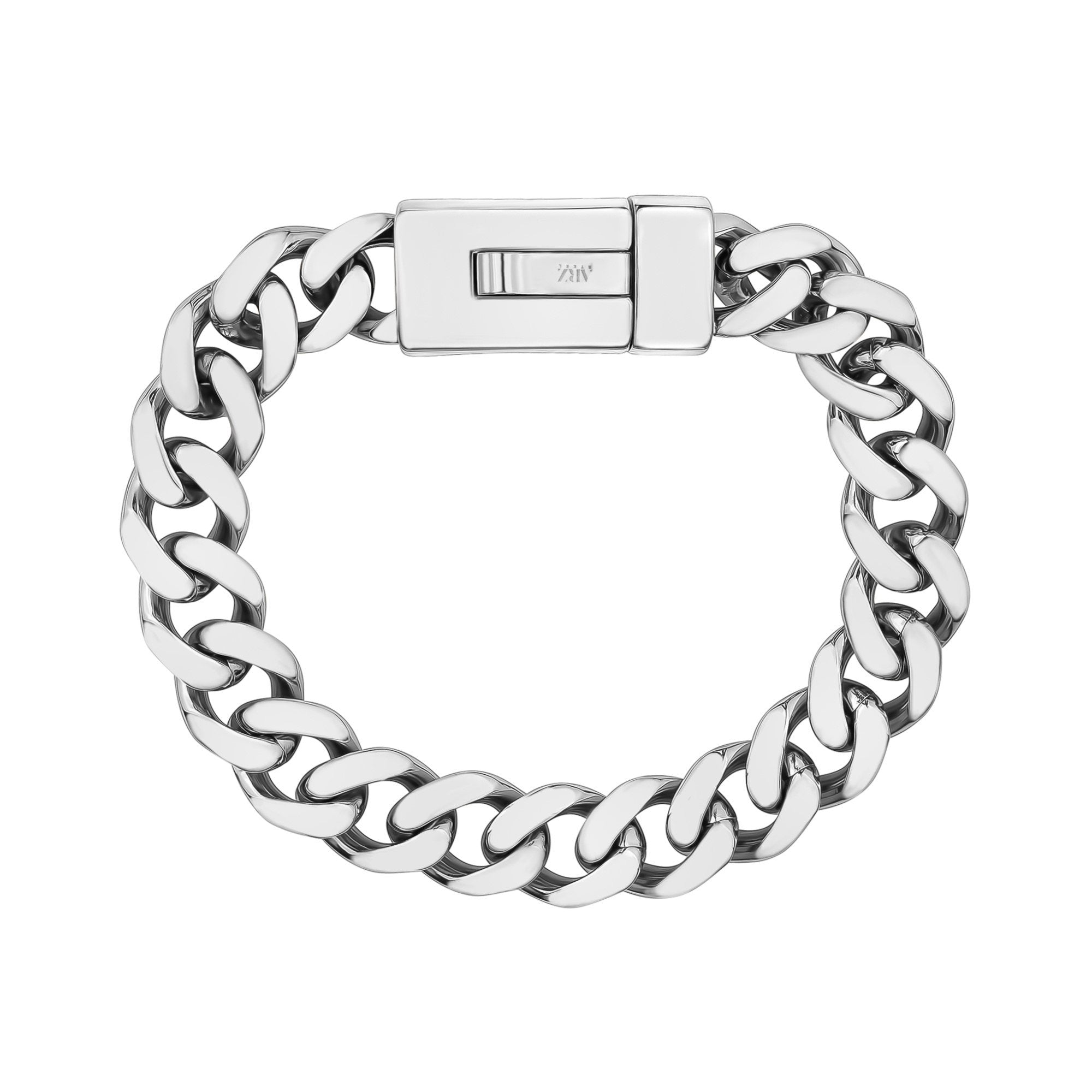 Mens Steel Bracelets - 12mm Stainless Steel Cuban Link Engravable Bracelet