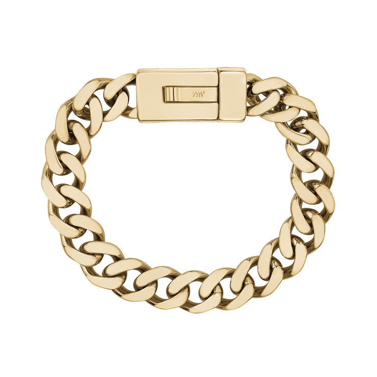 Mens Steel Bracelets - 12mm Gold Stainless Steel Cuban Link Engravable Bracelet