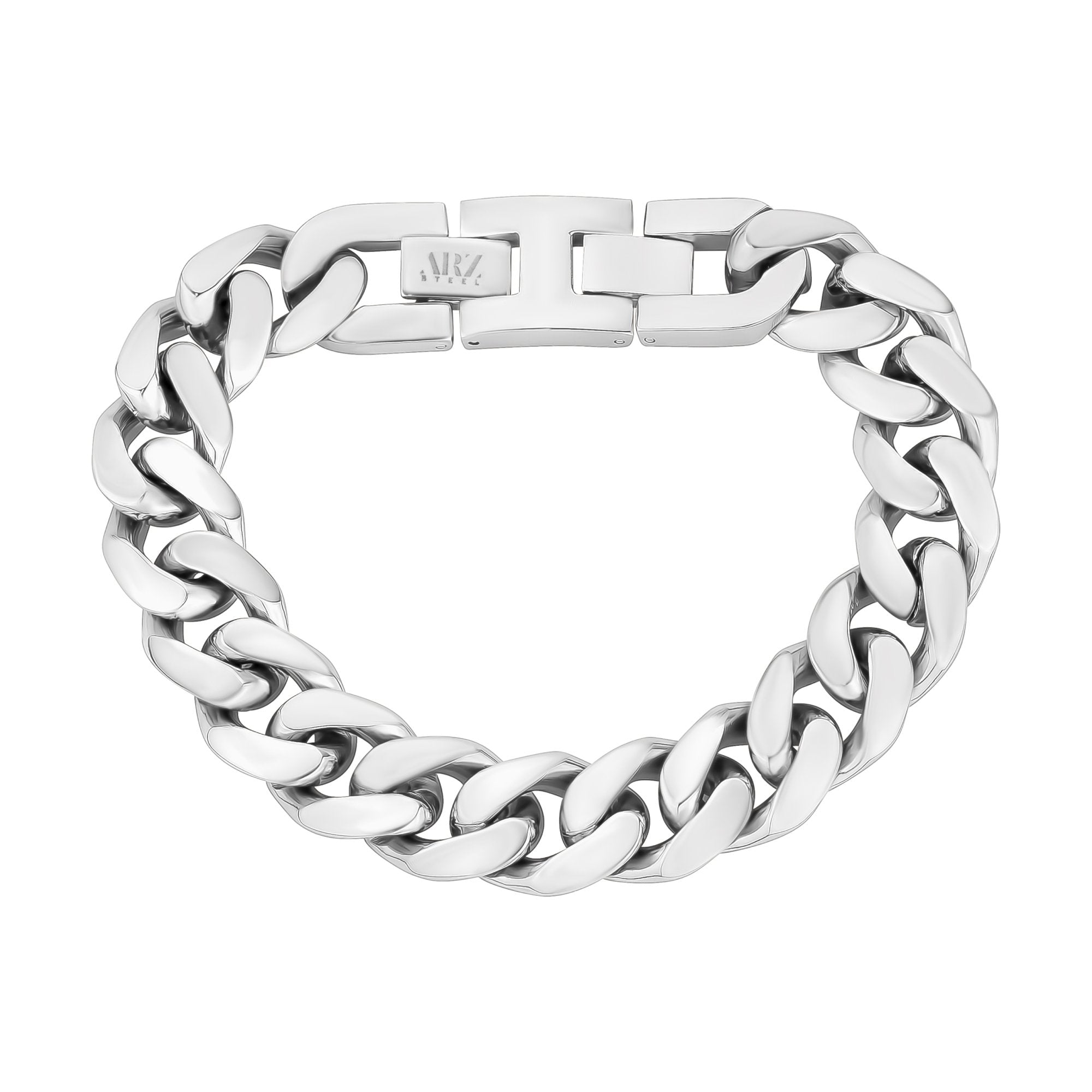Mens Steel Bracelets - 14mm Chunky Steel Cuban Link Chain Bracelet