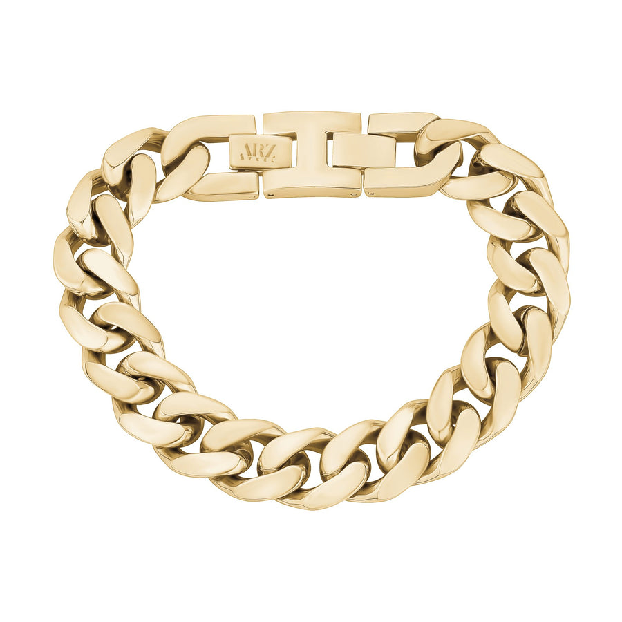 Mens Steel Bracelets - 14mm Chunky Gold Steel Cuban Link Chain Bracelet