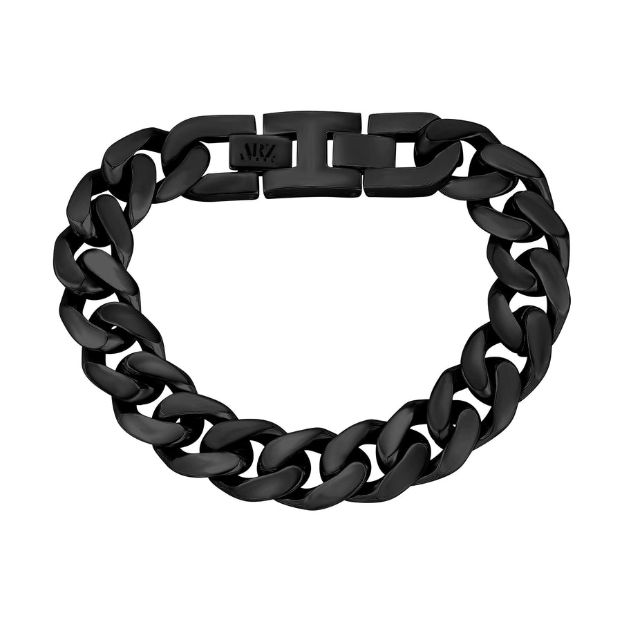 Mens Steel Bracelets - 14mm Chunky Black Steel Cuban Link Chain Bracelet