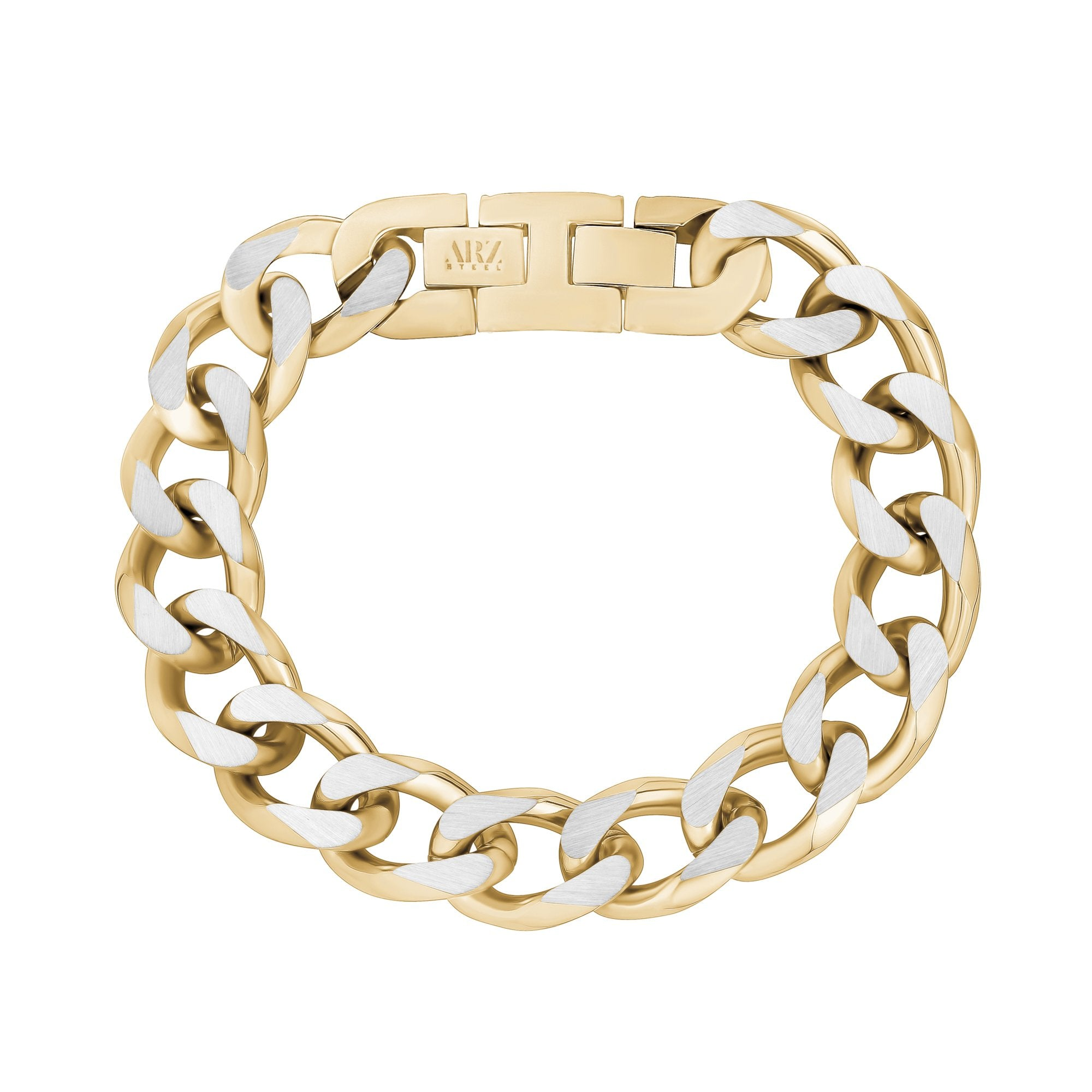 Mens Steel Bracelets - 14mm Gold Two Tone Steel Chunky Cuban Link Bracelet