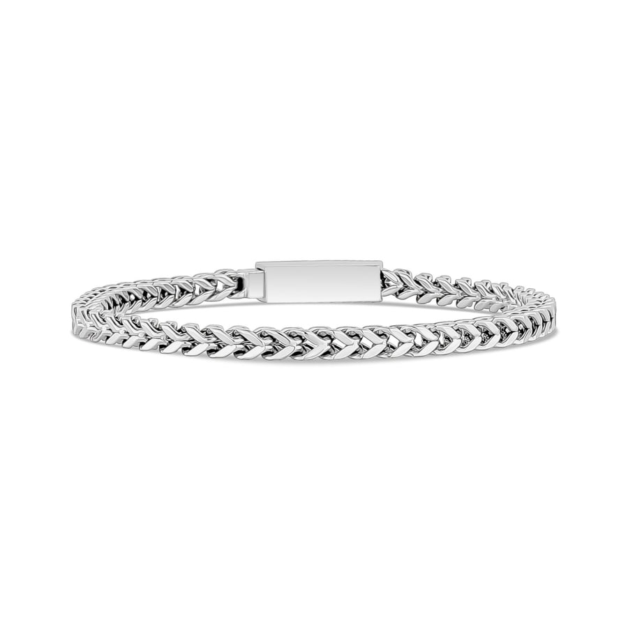 Mens Steel Bracelets - 4mm Stainless Steel Thin Franco Link Bracelet - Engravable