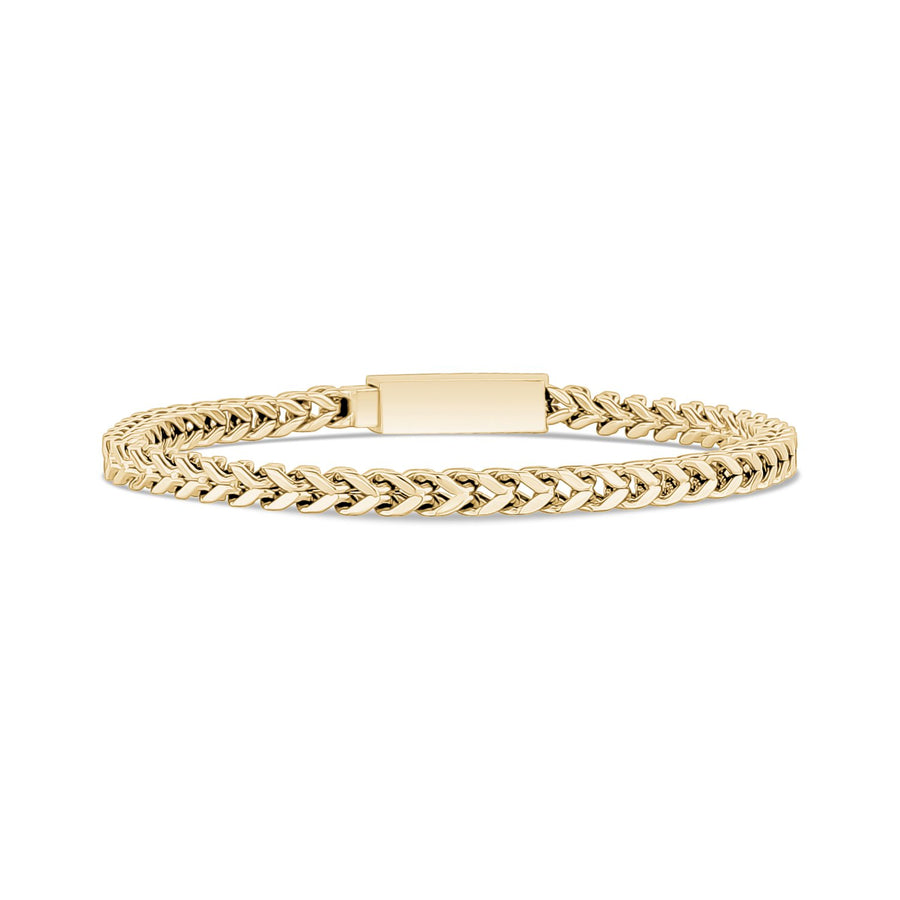 Mens Steel Bracelets - 4mm Stainless Steel Thin Gold Franco Link Bracelet - Engravable