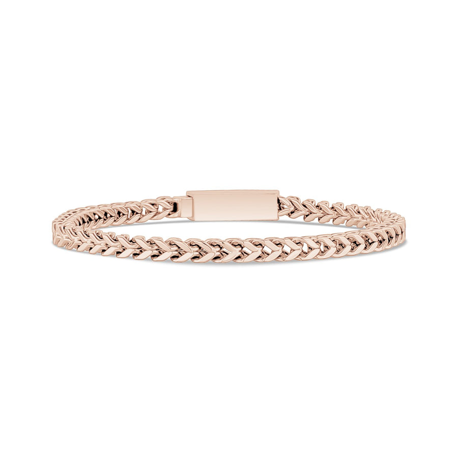 Mens Steel Bracelets - 4mm Stainless Steel Thin Rose Gold Franco Link Bracelet - Engravable