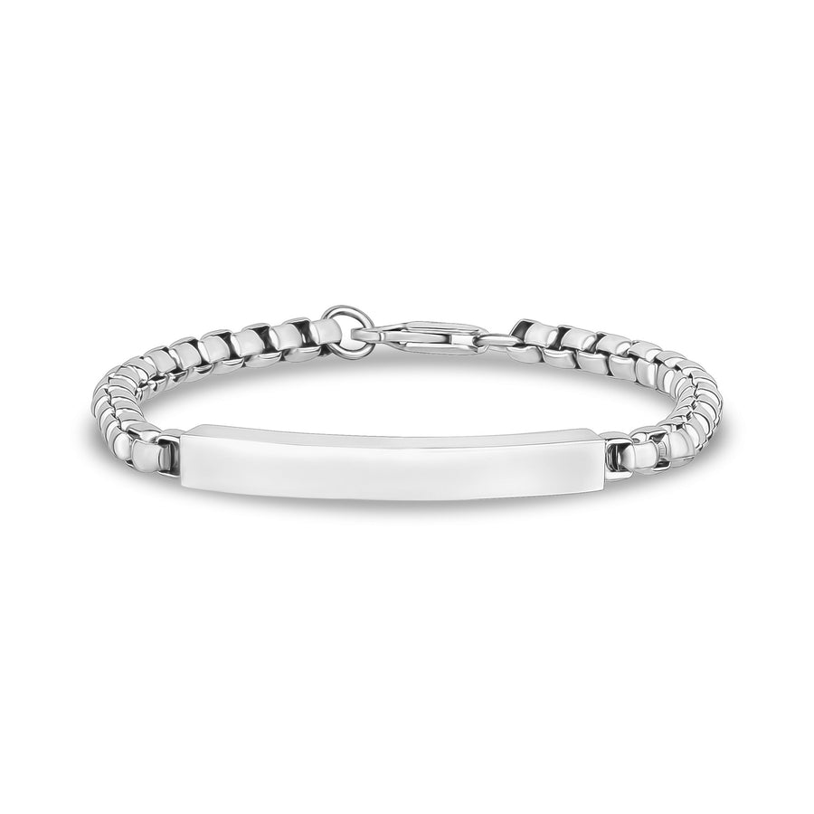 Mens Steel Bracelets - 5mm Round Box Engravable Steel ID Bracelet