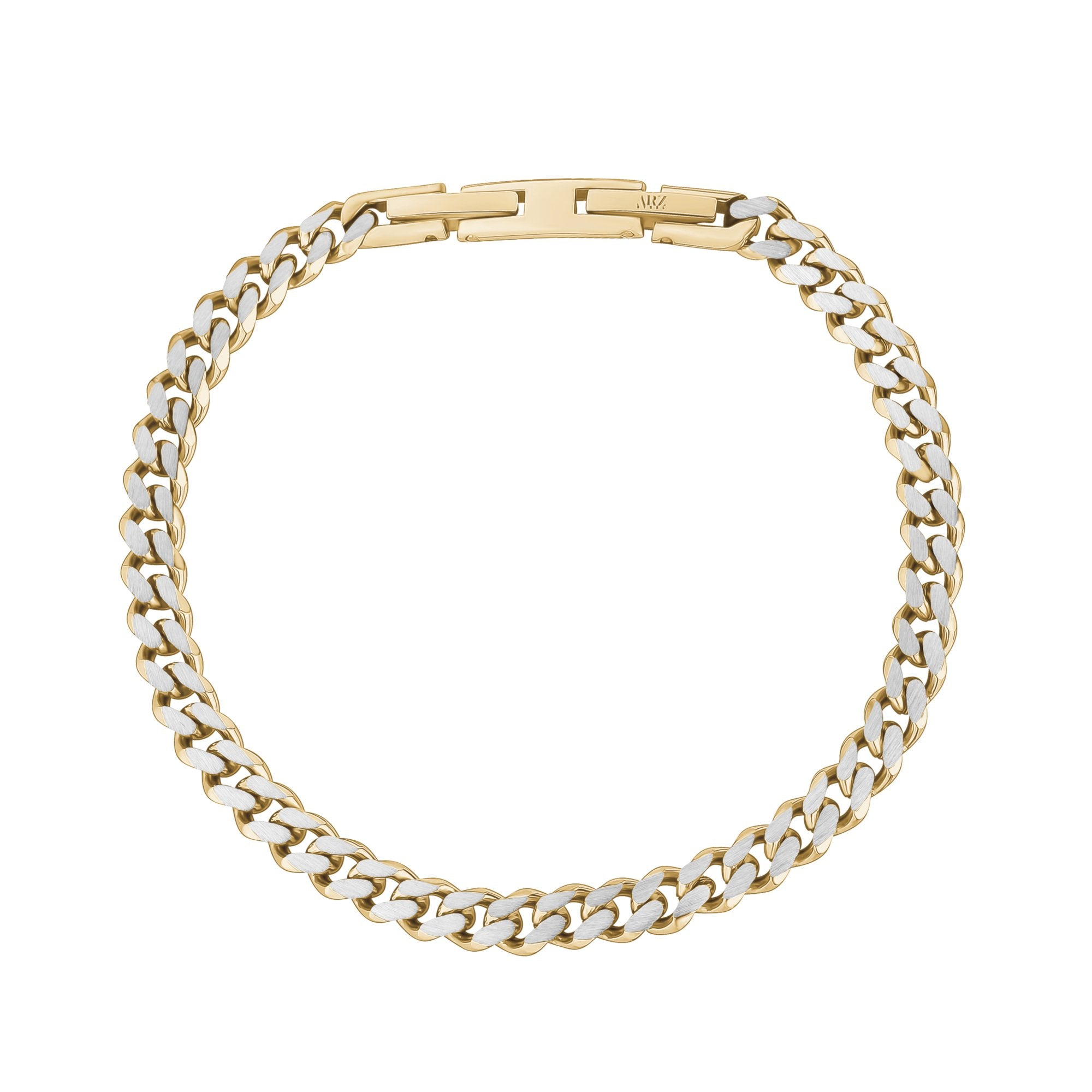 Mens Steel Bracelets - 5mm Gold Two Tone Steel Thin Cuban Link Bracelet