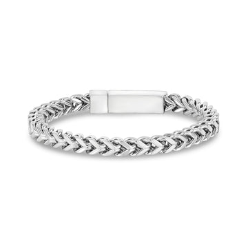 Mens Steel Bracelets - 6mm Franco Link Stainless Steel Engravable Bracelet