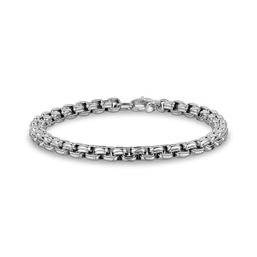 Mens Steel Bracelets - 6mm Stainless Steel Round Box Designed Link Bracelet
