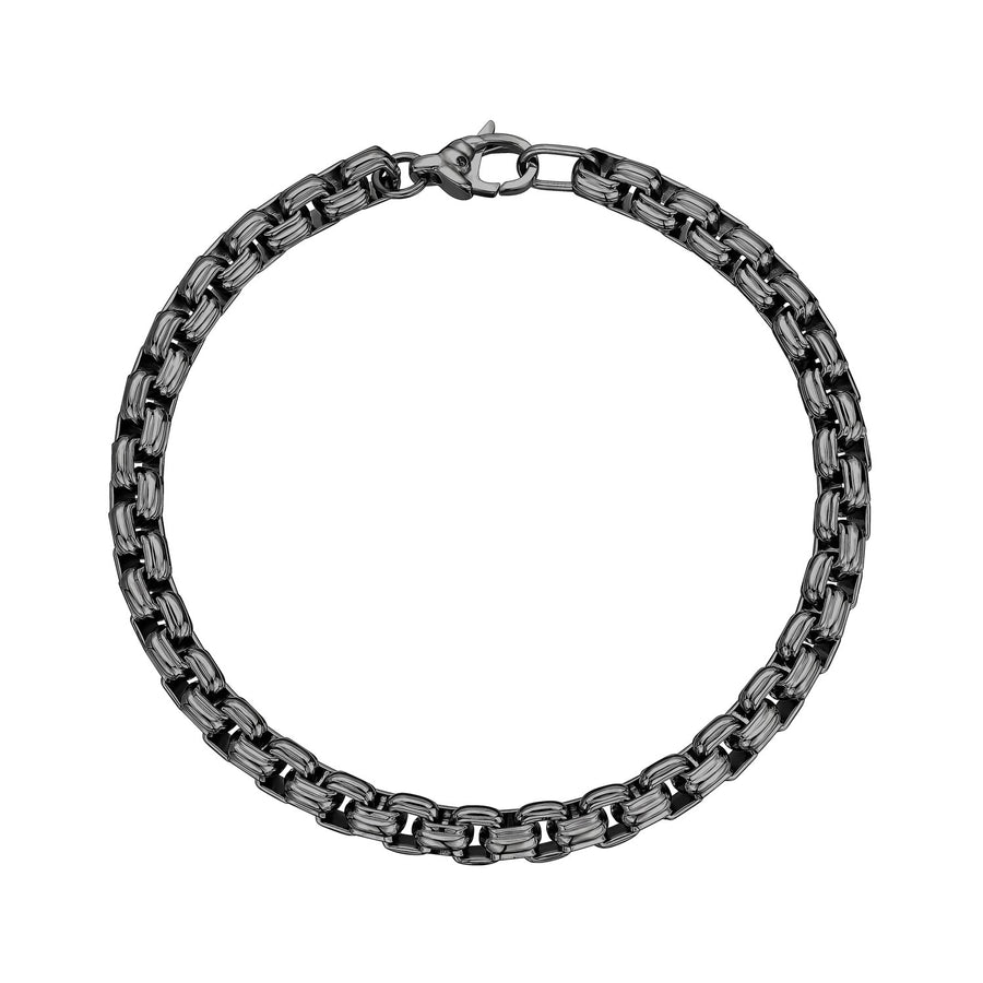 6mm Stainless Steel Round Box Designed Link Bracelet