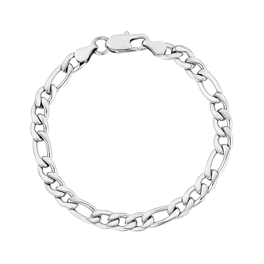 Mens Steel Bracelets - 7mm Stainless Steel Figaro Link Bracelet