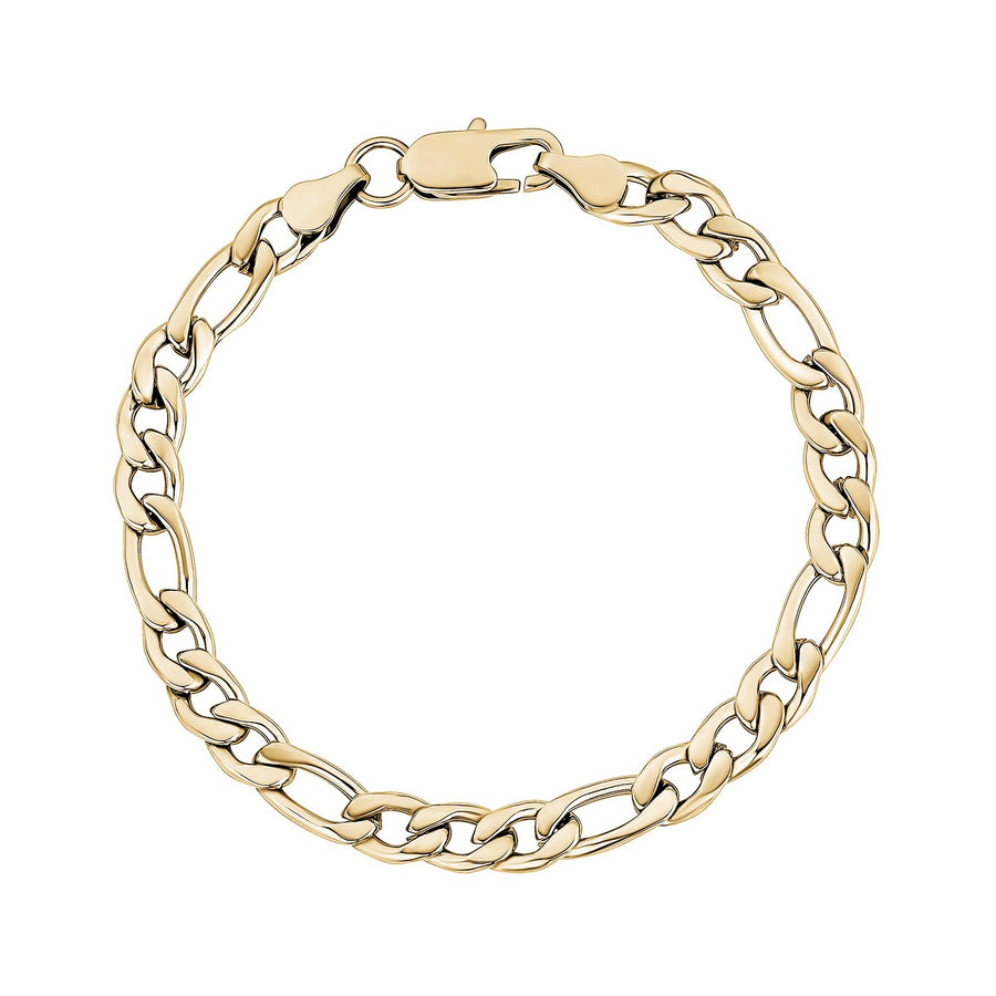 Mens Steel Bracelets - 7mm Gold Stainless Steel Figaro Link Bracelet