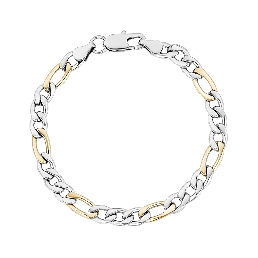 Mens Steel Bracelets - 7mm Two Tone Stainless Steel Figaro Link Bracelet