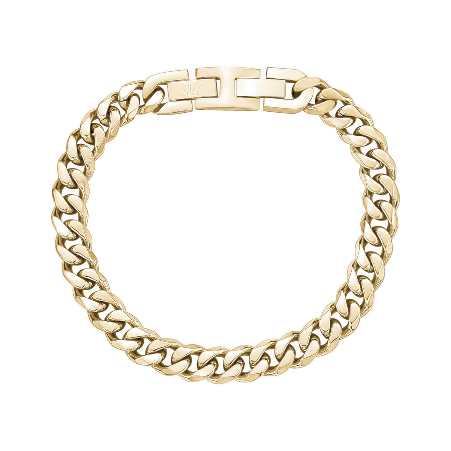 Mens Steel Bracelets - 8mm Gold Stainless Steel Cuban Link Bracelet