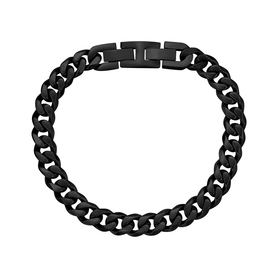 Mens Steel Bracelets - 8mm Black Stainless Steel Cuban Link Bracelet
