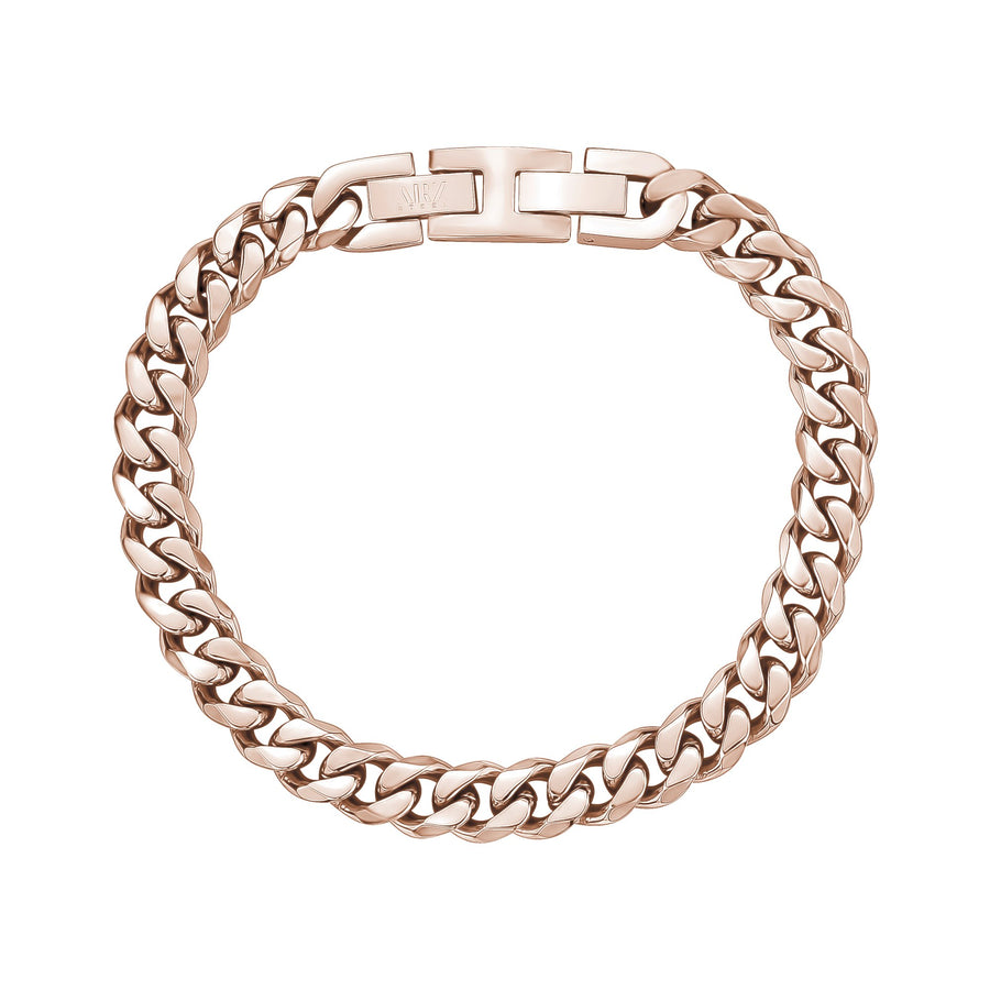 Mens Steel Bracelets - 8mm Rose Gold Stainless Steel Cuban Link Bracelet