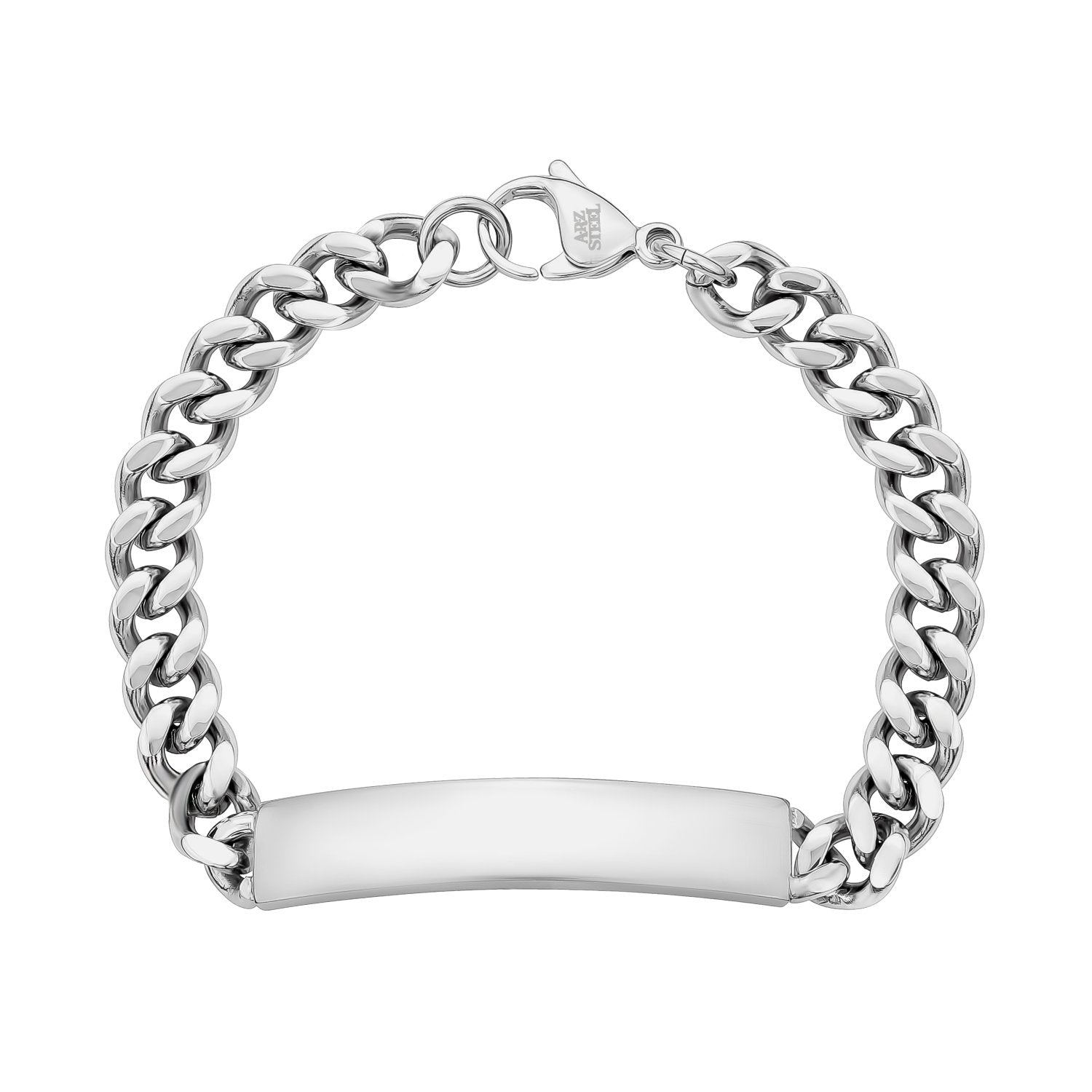 Mens Steel Bracelets - 8mm Stainless Steel Cuban Link ID Bracelet - Engravable