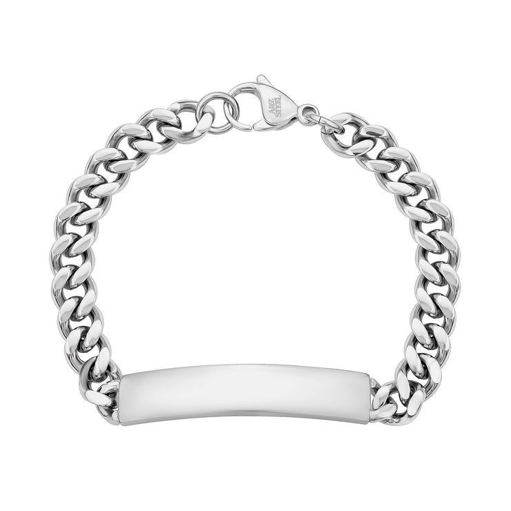 8mm Stainless Steel Cuban Link Engravable ID Bracelet