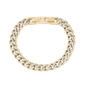 Mens Steel Bracelets - 8mm Gold Two Tone Steel Cuban Link Bracelet