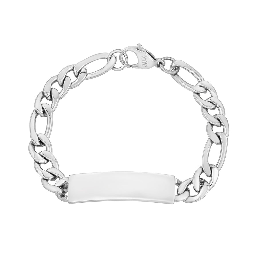 Mens Steel Bracelets - 9mm Stainless Steel Figaro Link Engravable ID Bracelet