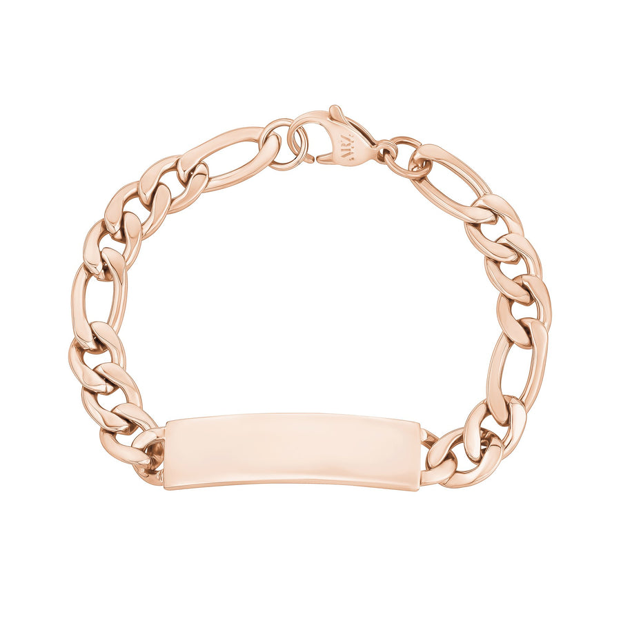Mens Steel Bracelets - 9mm Rose Gold Stainless Steel Figaro Link Engravable ID Bracelet