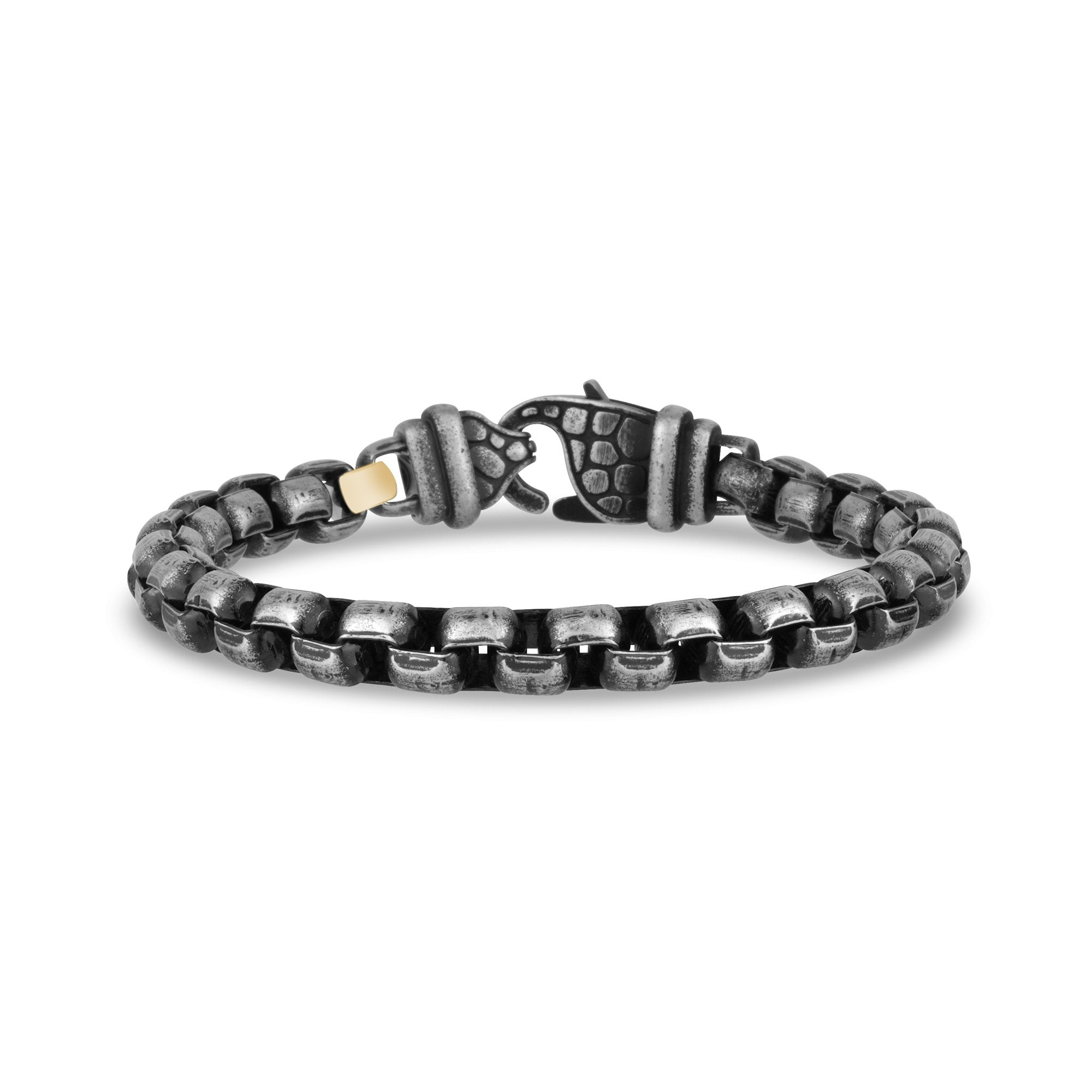 Mens Steel Bracelets - Antiqued Steel Round Box Link Bracelet
