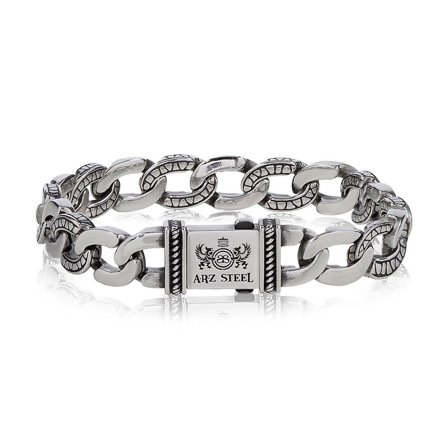 Mens Steel Bracelets - Detailed Oval Link Steel Bracelet