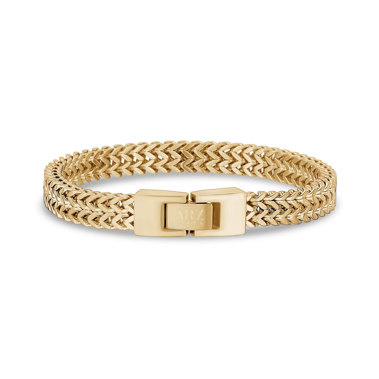 Mens Steel Bracelets - Double Franco Link Matte Gold Steel Bracelet