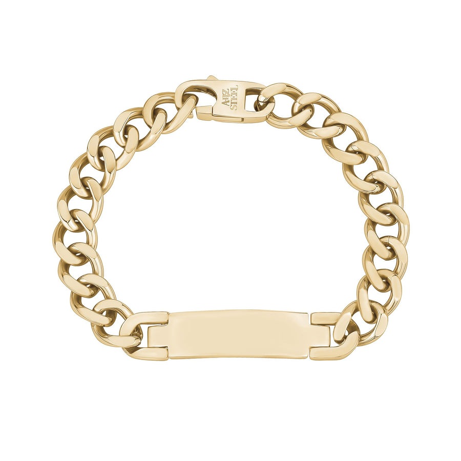 Mens Steel Bracelets - Engravable Gold Stainless Steel Cuban Link ID Bracelet