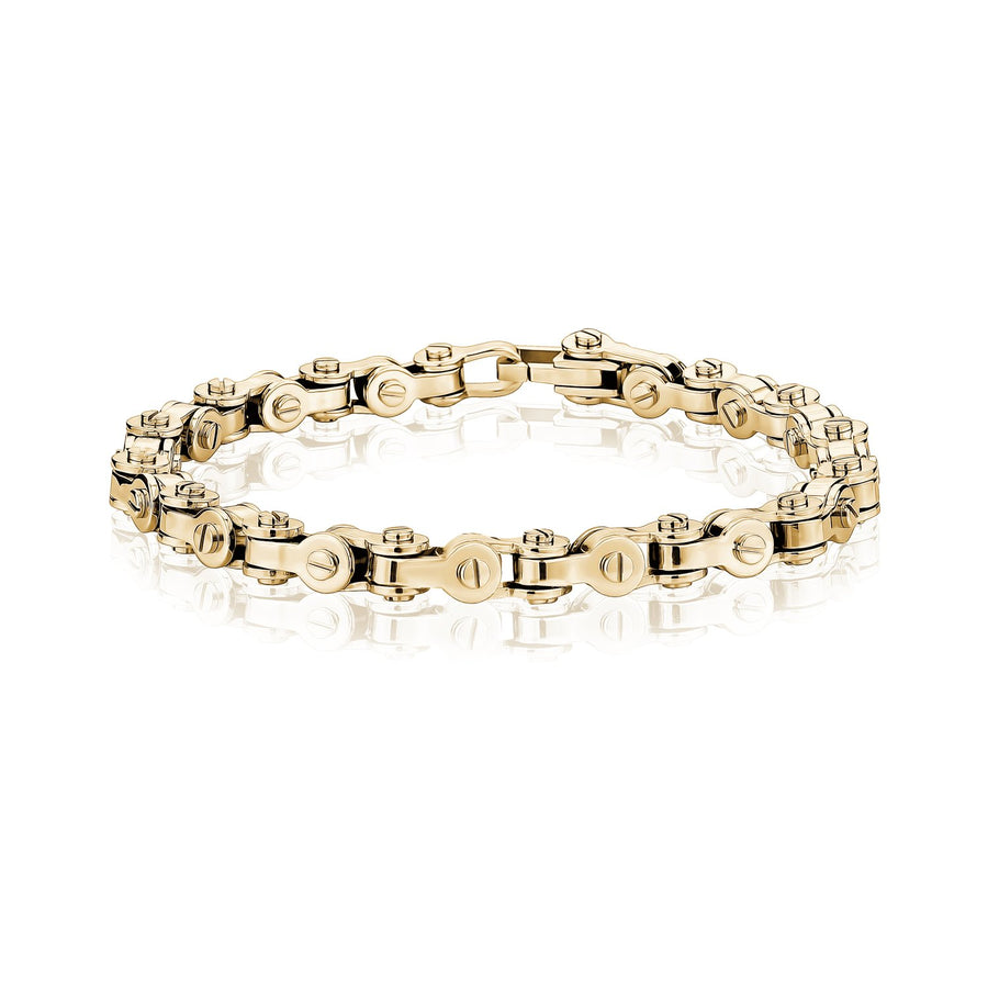 Mens Steel Bracelets - Modern Stainless Steel Gold Bicycle Chain Bracelet